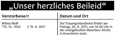 Traueranzeigen von Wilma Wolf | rz-Trauer.de