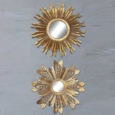 round wood sunburst mirror set of 2 3 piece wall multiple finishes gold