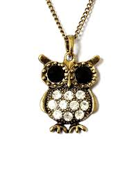 owl pendant by purple whale vintage retro style chain bronze finish rhinestone crystal necklace bird design costume jewelry for women kids teens