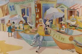 Rowena Smith, 20th C. Watercolor of a Fish Market