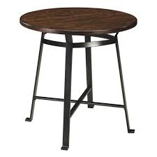 ashley challiman round bar height dining table in rustic brown