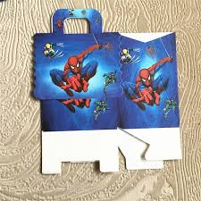 12pcs lot boy blue spiderman mickey cars birthday party gift candy handle bag paperboard festival
