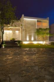 view modern house lights. Casa Natalia: Metal And Wood Shutters House In Mexico By Agraz Arquitectos : Night View Modern Lights