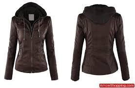womens hooded faux leather jacket coffee ash brown 54899 zoom helmet
