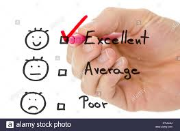 Male Hand Choosing Excellent On A Customer Service Evaluation Form