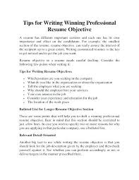 How To Write A Resume Objective Examples General Resume Objective