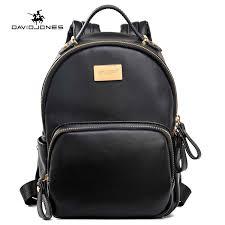 davidjones women backpack pu leather female shoulder bag large lady plain back bag girl casual book