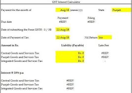 Vat Calculation Formula In Excel Download Gst Interest And Late Fee Calculator Download In Excel Format