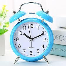 Cunclock Metal Creative Small Alarm Clock Children Bedroom Bedside Alarm  Clock Ringing Super Mute Fashion Large Blue
