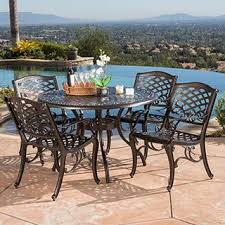 Outdoor metal chair Industrial Hallandale Sarasota Cast Aluminum Bronze 5piece Outdoor Dining Set By Christopher Knight Home Buy Outdoor Dining Sets Online At Overstockcom Our Best Patio