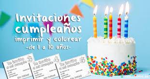 Invitaciones De Cumpleaños Para Niños Para Imprimir Y Colorear