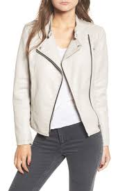 image of blanknyc denim faux leather ruffle hem moto jacket