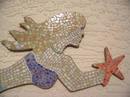 mosaic wall decor: work in progress photos in another blog post http bluewaveglassblogspotcom   mosaic mermaidhtml