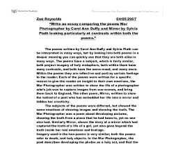 compare poems written by carol ann duffy and sylvia plath gcse document image preview