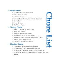 Household Chores Checklist Printable Unique Chart Ideas On House Organizing  Weekly Chore . Household Chores Checklist ...