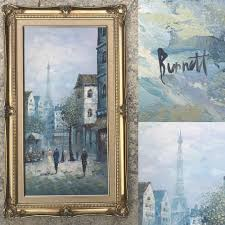 details about ine burnett original oil painting gold impressionism parisian eiffel tower