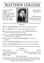 Actor Resume Template Sample Of Acting Resume Template Free Resume Templates 20