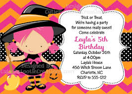 Witch Costume Birthday Invitations Halloween Party