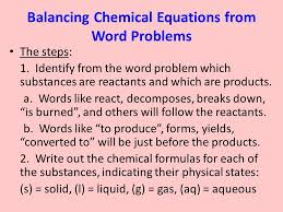 balancing chemical equations from word problems