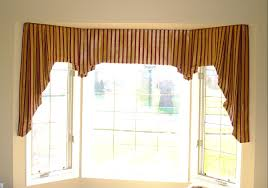 Classy Brown Fabric Homemade Over Valances As Modern Drapes Ideas For  Corner Bay Windows Treatment In Mid Century Living Space Designs