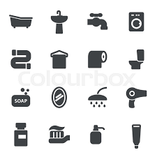Vector black bathroom icons set on white background | Stock Vector ...