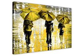 Great LANDSCAPE YELLOW 3 UMBRELLAS BY LEONID AFREMOV CANVAS WALL ART  PICTURES FRAMED PRINTS HOME DECO