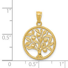 14k yellow gold tree of life in round pendant charm necklace awarenes fine jewelry gifts for women for her