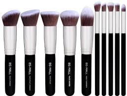 bs mall tm premium synthetic kabuki makeup brush set 10pcs silver black high quality