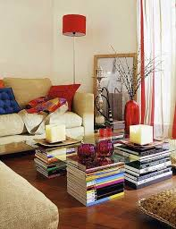 using books for coffee table