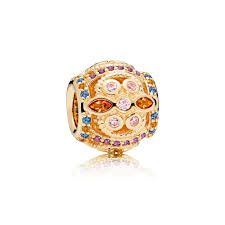 color fresco charm 14k gold multi colored crystals pink cz yellow