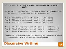 discursive writing a guide to unit overview today s learning  discursive writing essay structure 2 capital punishment should be brought back intro explain