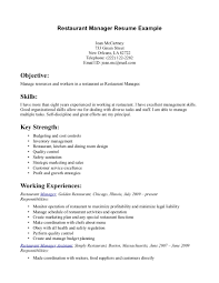 Restaurant manager resume example for Restaurant worker cover letter .  Sample restaurant resumes ...