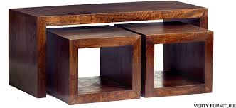 dakota mango john long cubed coffee table set walnut colour