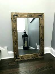 rustic wood framed mirrors. Wood Framed Bathroom Mirrors Rustic Frame Wall Mirror Handmade . D