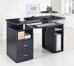 home office black desk. computer desk pc table home office furniture black white walnut beech diy new