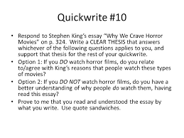 why we crave horror movies ppt video online  why we crave horror movies 2 quickwrite