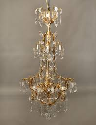late 19th early 20th century gilt bronze and baccarat crystal chandelier
