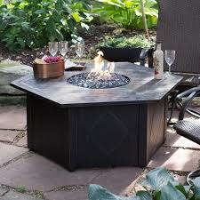 Door 4h Hexagon Propane Patio Fire Pit Table Outdoor Top Types Of