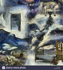 open door painting. Complex Abstract Painting. Open Door To Another World. Hourglass. Bed And  Violin. Open Painting