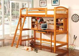 bunk bed with desk another rich wood loft bed featuring an array of shelving options above