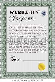 Sample Warranty Certificate Template Elegant Design Stock