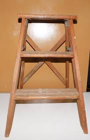 vintage 2 step wood wooden folding step ladder plant garden stand prop