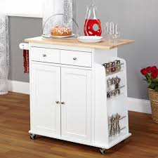 Kitchen Cart With Doors Furniture White Oak Kitchen Cart Wooden Laminated Top Two Untility