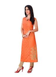 Sleeveless Long Kurti Designs Shop Shanaya Embroidered Straight Designer Sleeveless Kurti Orange Online In Dubai Abu Dhabi And All Uae