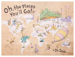 Dr Seuss Chart 18x24 Dr Seuss Colorful Characters Oh The Places Youll Go World Map Wood Wall