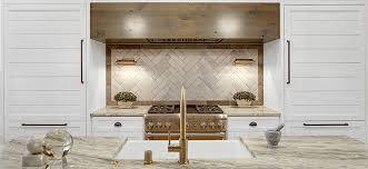 herringbone tile backsplash behind stove