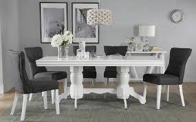sworth white extending dining table with 6 bewley slate chairs