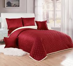 moon compressed two sided velvet comforter set king size red 6 pieces
