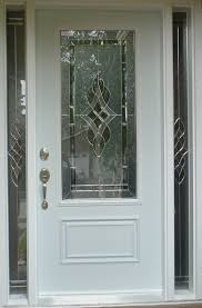 white double front door. Exterior. Semi Transparent Glass Door On White Wooden Frame With Silver Steel Handle Plus Double Front R