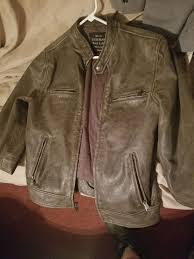 men s lucky brand black label leather coat